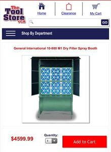 General International 10-900 M1 Dry Filter Spray Booth
