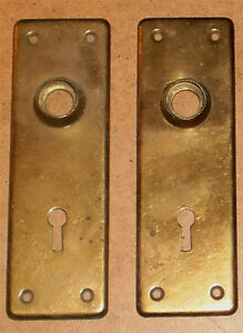 ANTIQUE DOOR KNOB BACKPLATES MATCHING PAIR