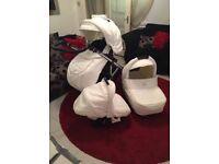 Vib white leather Swarovski crystal buggy