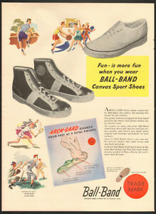 1948 full-page, color authentic print ad for Ball-Band Sneakers