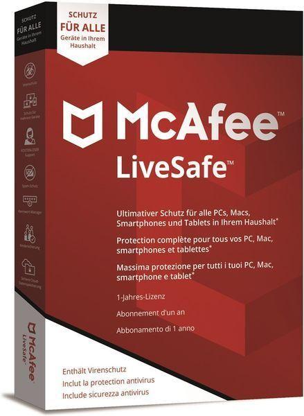 McAfee LiveSafe 2019 Unlimited Unbegrenzt 3 5 10 PC Geräte 1 Jahr