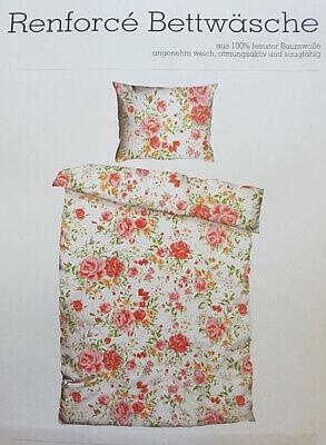 Bettwäsche 4 tlg. Renforce Cotton Blumen Romantik bunt 140x200 + 70x90