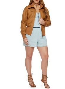 Women's plus size faux leather jacket