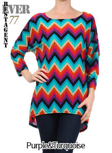 Ever77 New Women Chevron High-Low Hem 3/4 Sleeves Poly Dress,Long Tunic Top/USA