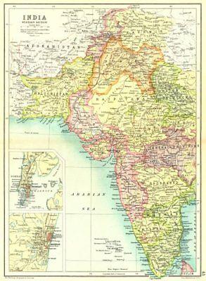 WEST INDIA. Inset Mumbai Bombay Chennai Madras. Showing native states 1909 map