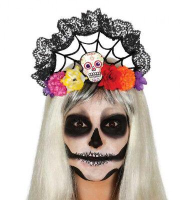 Blume Tiara & Schädel Tag der Toten Stirnband Halloween Kostüm Neu ()