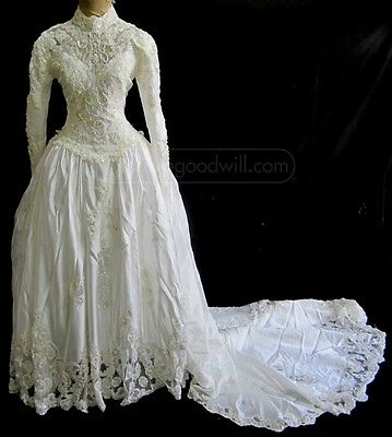 Vintage VICTORIAN EDWARDIAN Style WEDDING DRESS Size 10 BEAUTIFUL!!! (1980?)