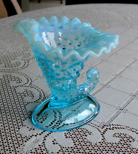 Fenton Ice Blue Opalescent Hobnail Cornacupoia (Candle Holder)