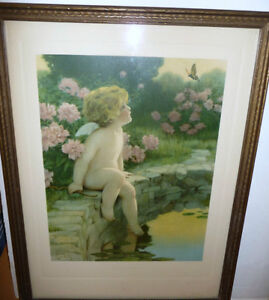 "Bessie Pease Gutmann ""The Butterfly"" Original Vintage Print 1912 Stratford Kitchener Area image 1"