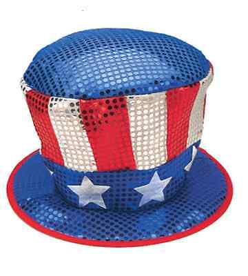 Top Hat Uncle Sam Patriotic Tall Red White Blue Sequin Top Hat (Blue Sequin Top Hat)