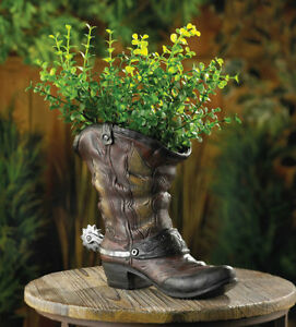 Country Western Cowboy Boot Flower Pot Planter With Spur Accent