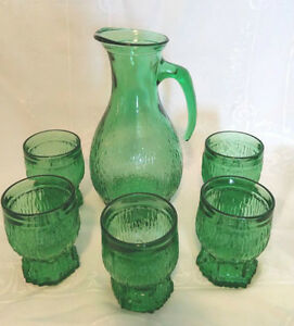 Retro Italian Green Glass Carafe