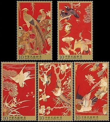 Taiwan Stamp(SC4095-99)-2013-特586-Qing Dynasty Embroidery Peacock Birds stamps-M