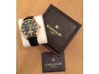 THOMAS EARNSHAW GOLD-PLATED S/S CASE, VISIBLE AUTOMATIC MOVEMENT + BALANCE, BOX
