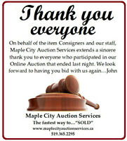 Maple City Auction Services says Thank you!