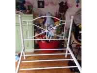 Girls single bed frame white metal