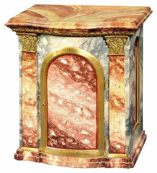 "* 18th Century 26"" high Cabinet Tabernacle Faux Marble Paint Carved Gilt"