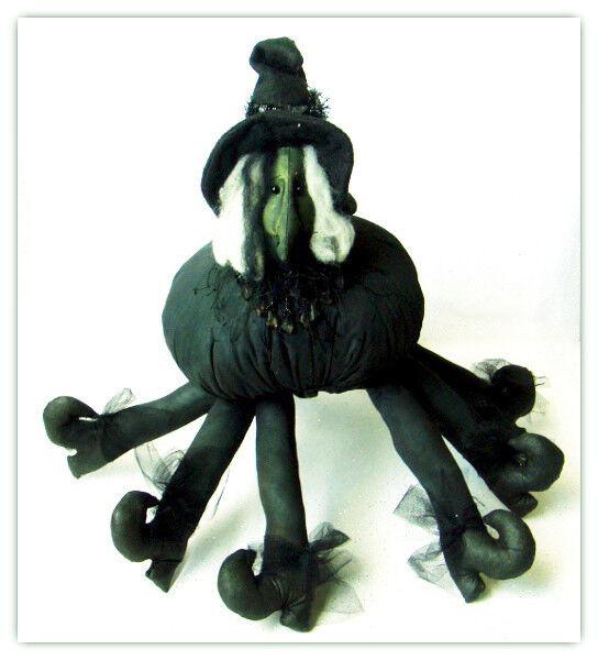 "Halloween Handmade Plush Spider Witch 18 1/2"" with Detailed Witch Face"