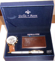 BELLA & ROSE MENS WATCH, GIFT SET WITH PEN AND CARD HOLDER
