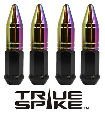 20 TRUE SPIKE 86MM 14X2.0 STEEL LUG NUTS NEO CHROME EXTENDED APOLLO SPIKES B