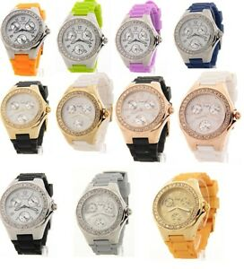 Invicta-Womens-Crystal-Bezel-Angel-Polished-Steel-3-Eye-Day-Date-Rubber-Watch