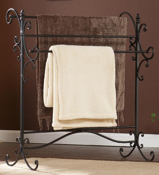 Southern Enterprises Blanket Rack Holder Iron Quilt Towel Display Stand Vintage Storage Home Black