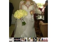 Demetrios designer wedding gown dress veil size 10