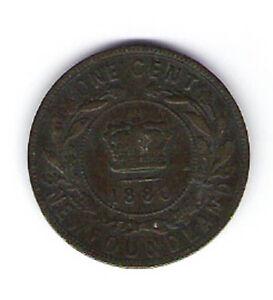 Coin 1880 Canada Newfoundland 1 Cent Penny Kingston Kingston Area image 2