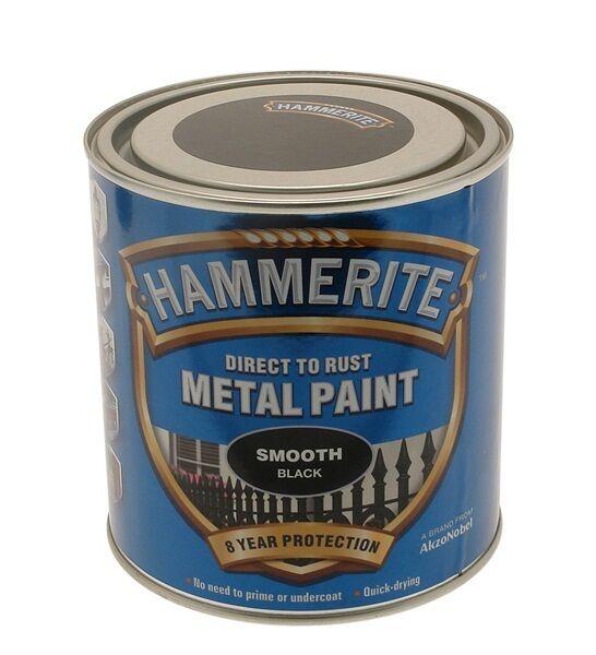 Hammerite Smooth Metal Paint 2.5 Litre Black Silver White Yellow Dark Green