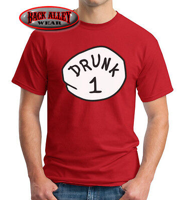 DRUNK 1 2 3 4 5 6 T-SHIRT Dr Thing ~ Easy Funny Costume ~ Beer Drinking Alcohol (Thing 1 Thing 2 Thing 3 Costumes)