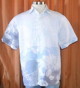 Cubavera short sleeve light blue white linen rayon for Mens light blue linen shirt