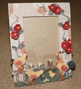 Country Style Theme Chicken Flowers Photo Picture Frame