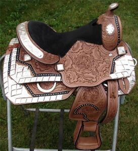"13"" Western Silver Show Saddle Leather Fully Tooled Youth Pony"