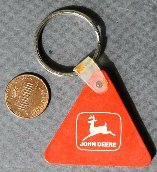 1980-90s Era John Deere Tractors safety triangle keychain-VINTAGE COOL!*