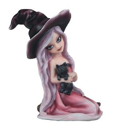 """6"""" Pink Witch Girl with Cat Halloween Decor Figure Gothic Figurine"""
