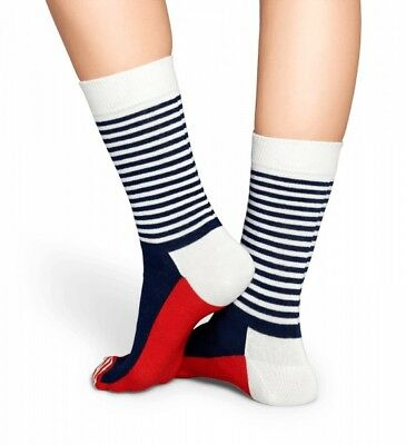 Happy Socks - Half Stripe Socken - blau / weiß / rot - 36-40 + 41-46