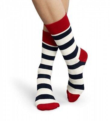 Happy Socks - Socken weiß blau rot- Streifen, Stripes, 36-40 + 41-46