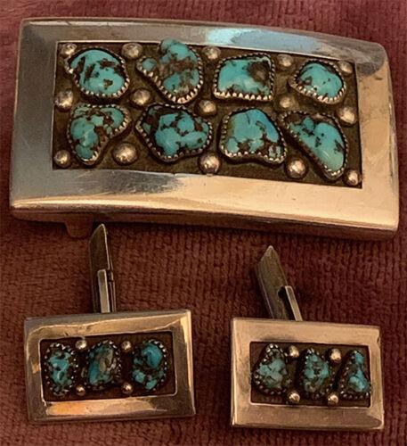 Southwestern Frank Patania Sr. Signd Set Buckle Cufflinks Natural Turquoise .925