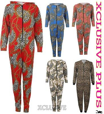 WOMENS LEOPARD CHAIN PRINT HOODED ONESIE ALL IN ONE SUIT JERSEY JUMPSUIT S/M - Leopard Onesie For Women