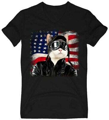 American Cat Air Force Pilot Black T Shirt. Best Christmas Gift For Friends. ()