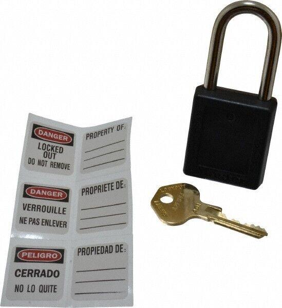 "Master Lock. Keyed Different Retaining Key Lockout Padlock 1-1/2"" Shackle Cle..."