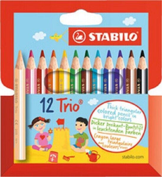 12 x Stabilo® Dreikant-Buntstift, Trio ,Malstift 90mm dick 12 Farben
