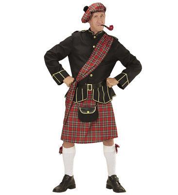 Mens Male Scotsman Fancy Dress Costume Scottish Tartan Kilt Outfit Adult (Scotsman Outfit)