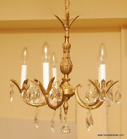 Antique Brass Small 5 Candle Chandelier