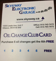 Oil changes starting from $25.(up to 5 litres of convential oil)