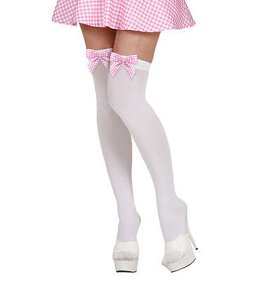 Bow Peep Kostüm ( THIGH HIGHS WHITE PINK BOW HEN NIGHT PARTY PANTYHOSE ACCESSORY BO PEEP)