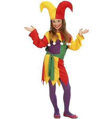 JOLLY JESTER GIRLS CLOWN FANCY DRESS COSTUME AGES 5-13 MEDIEVAL JOKER CHEAP - Medieval Dress Cheap