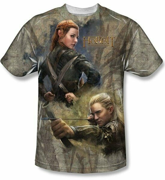 The Hobbit Legolas Elves Sublimation Front Print T-Shirt Size X-LARGE NEW UNWORN