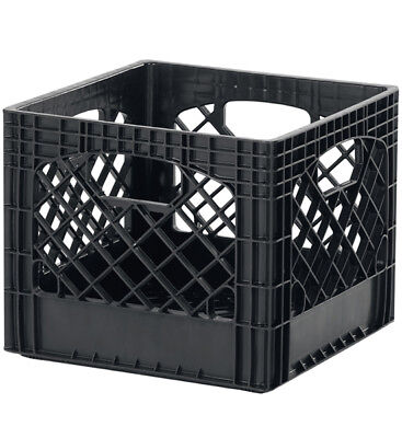 Classic Milk Crate Storage Bins Commercial Stackable Crate (Plastic Black) NEW