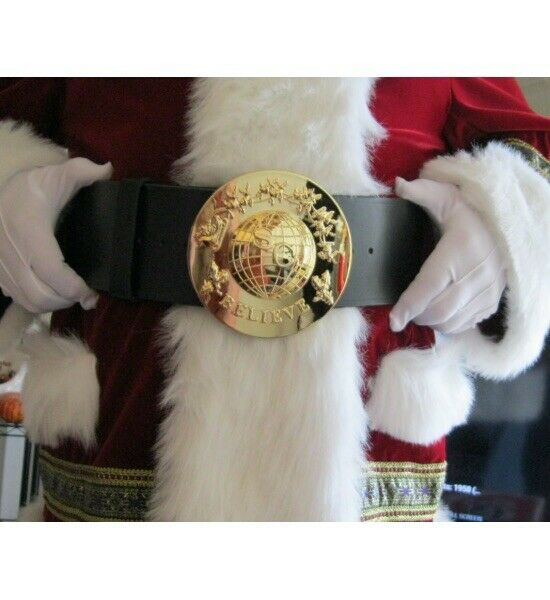 Gold Santa Claus Believe Belt Buckle